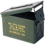 "50 Cal. Ammo Cans Original Military 11x7x 5.5"" OD Green Excellent Condition"