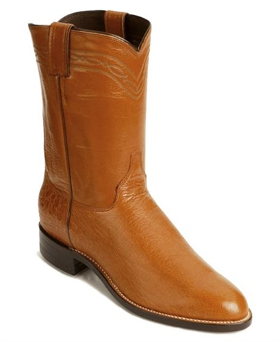 Justin Cognac Smooth Ostrich Roper Boots
