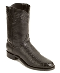 Justin BLACK Smooth Ostrich Roper  Boots