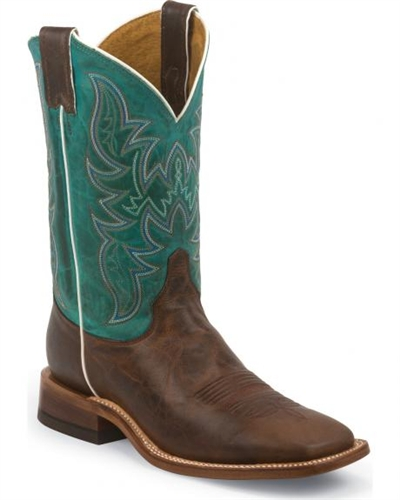 Justin Bent Rail Wood Brown Cowboy Boots Square Toe