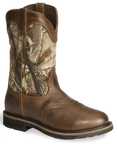Justin Stampede Camo Waterproof Work Boot Round Toe