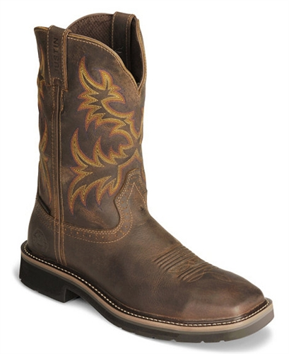 Justin Original Work Boots 174 Stampede Mens Rugged Brown Steel Square Toe Work Boot