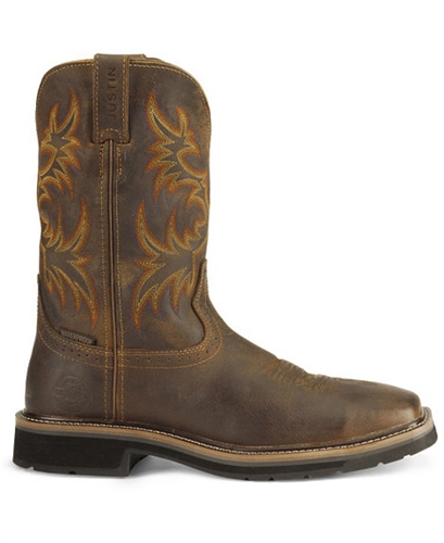 Justin Original Work Boots 174 Stampede Mens Rugged Brown Steel Square Toe Work Boot