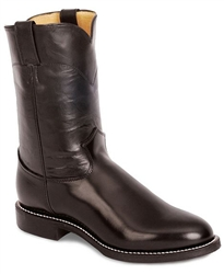 Justin Men's Black Kipskin Classic Leather Roper Boots