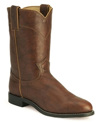 Justin Men's Chestnut Marbled Deerlite Leather Roper Boots