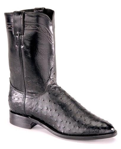 2cfc79c3836 Justin Mens Black Full Quill Ostrich Exotic Roper Boots