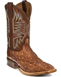 Justin Men's Full Quill Ostrich Cowboy Boots - Square Toe