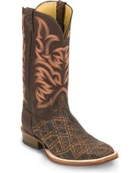 Justin Aqha Elephant Cowboy Boots Square Toe