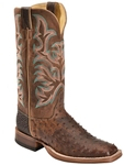 Justin Men's AQHA ANTIQUE SADDLE  Full Quill Ostrich Cowboy Boots Square