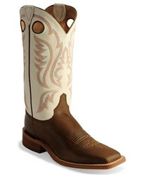 Justin Bent Rail Men's Chocolate Brown w/ Ivory White Top Square Toe