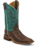 Justin Bent Rail Wood Brown Cowboy Boots - Square Toe