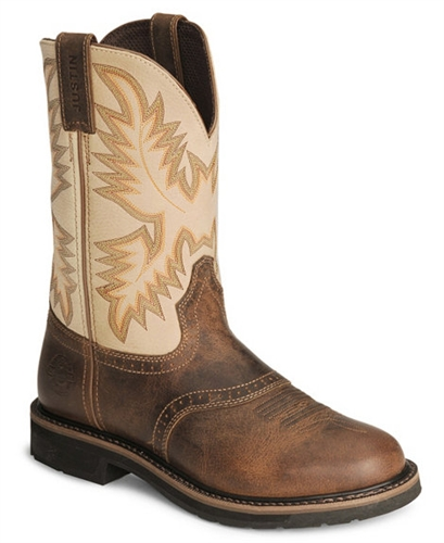 Justin Stampede Waxed Brown Saddle Waterproof Work Boots