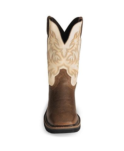 Justin Stampede Copper Western Work Boot Square Soft Toe