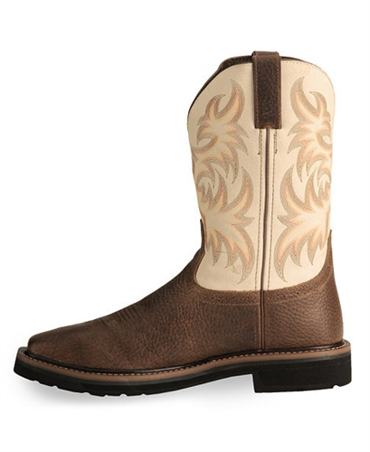 Justin Stampede Copper Western Work Boot Square Soft Toe