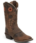 Justin Silver Saddle Vamp Cowboy Boots WHISKEY BUFFALO  - Square Toe
