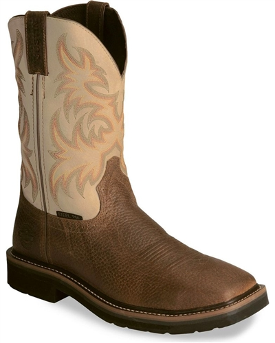 Justin Stampede Copper Western Work Boot Square Steel Toe