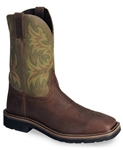 Justin®  Original Workboots Stampede Waxed Brown Western Work Boot - Steel Toe